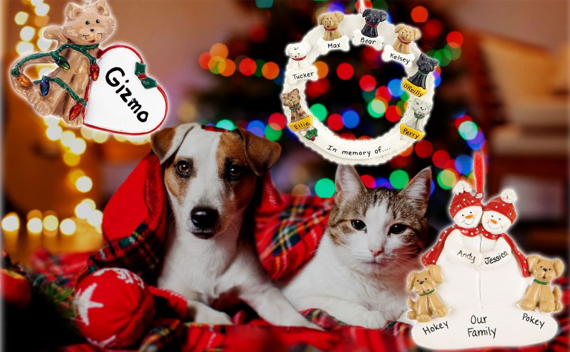 Personalized pets ornaments for dog and cat first Christmas with couple. | OrnamentShop.com