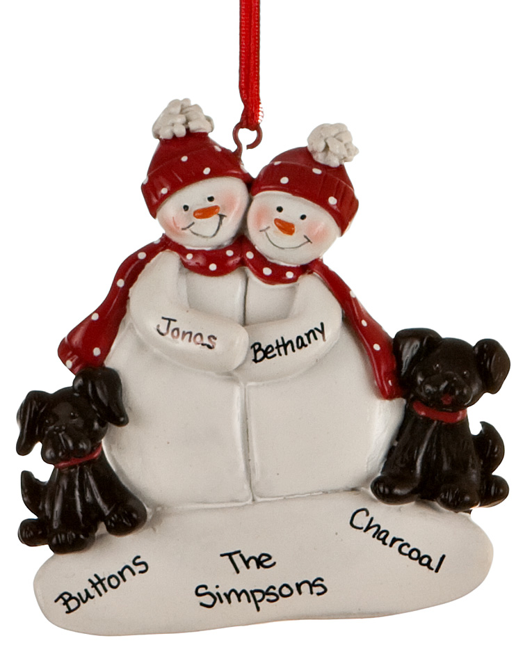 Personalized snow couple ornament with 2 black dogs. | OrnamentShop.com