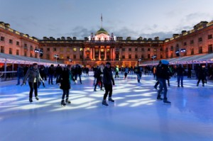 Lit up by red lights during Christmas, Somerset House draws skaters throughout the Christmas season. The arts and cultural center, located in the heart of London, overlooks the River Thames.