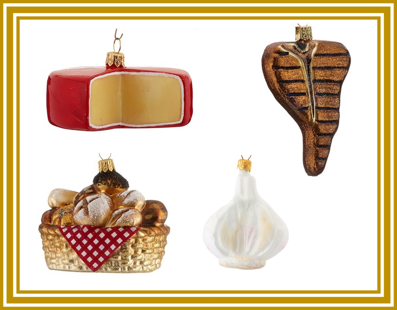 Ornaments of food that is popular for Christmas in the Netherlands including cheese, garlic, steak and bread. | OrnamentShop.com