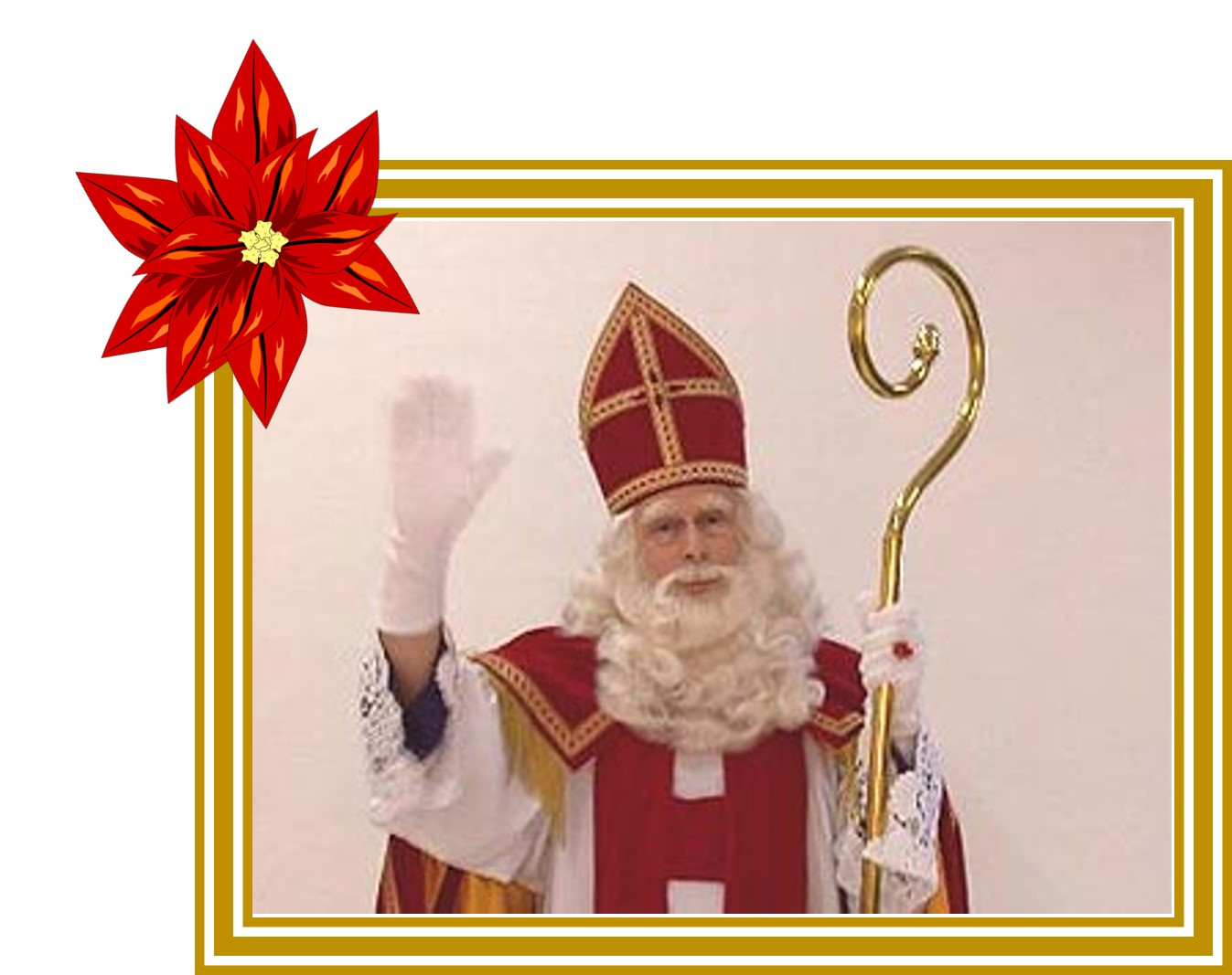 Christmas in the Netherlands features Sinterklaas, who holds a cane and wears a tall hat. | OrnamentShop.com