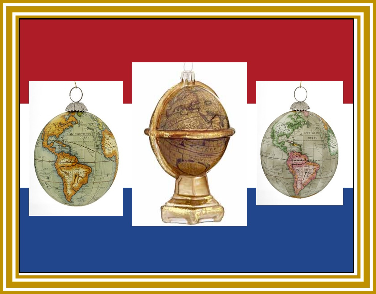 Ornaments of authentic globes and maps for people who love to travel. | OrnamentShop.com