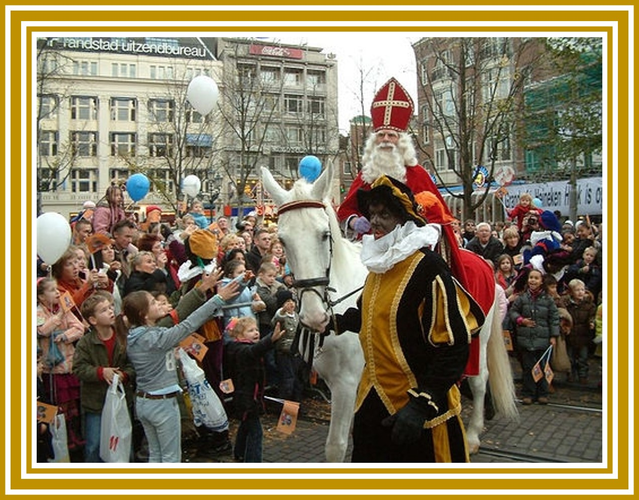 Sinterklaas takes part in a Christmas parade while riding a horse. | OrnamentShop.com