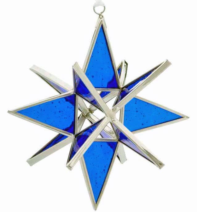 handmade ornaments- stained glass blue