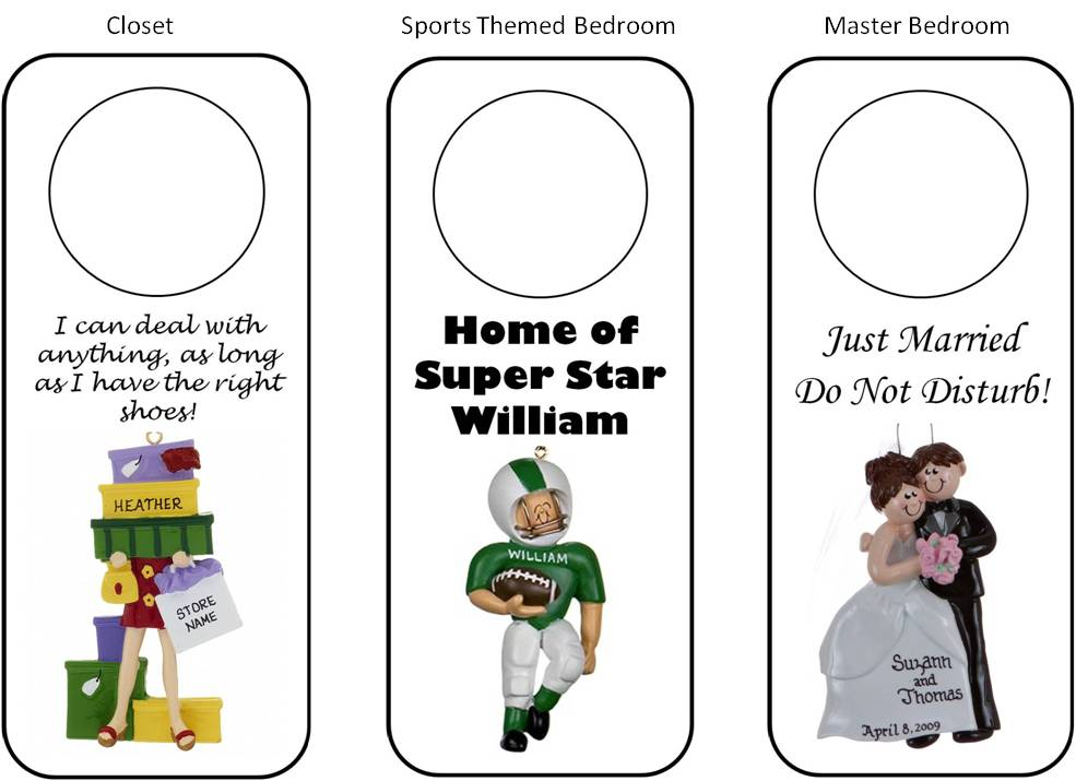 DIY personalized door hangers match closets, bedrooms, sports themed bedrooms, master bedrooms, and more | OrnamentShop.com