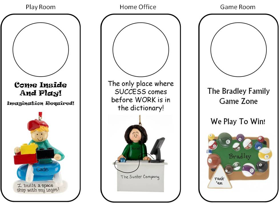 DIY personalized door hangers match playrooms, home offices, game rooms, and more | OrnamentShop.com