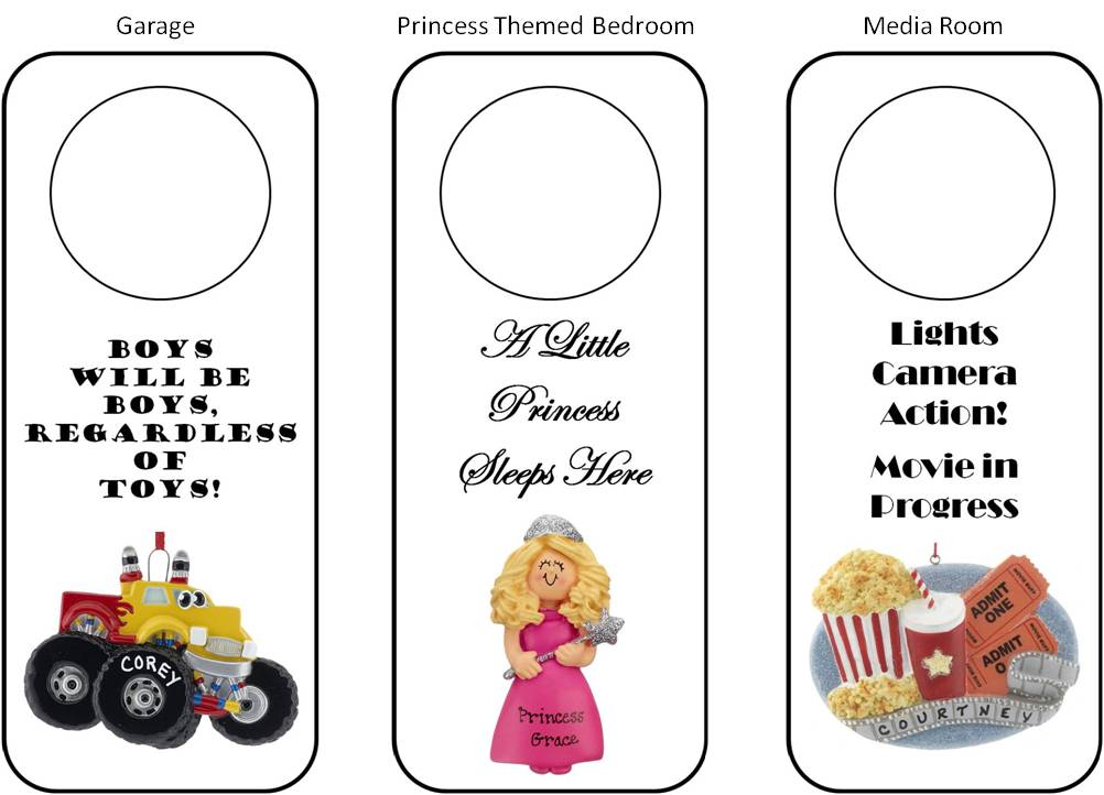 DIY personalized door hangers match garages, princess themed bedrooms, media rooms, and more | OrnamentShop.com