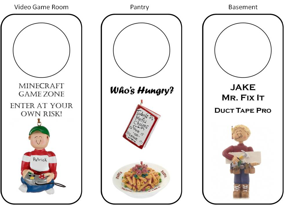 DIY personalized door hangers match video game rooms, pantries, basements, and more | OrnamentShop.com