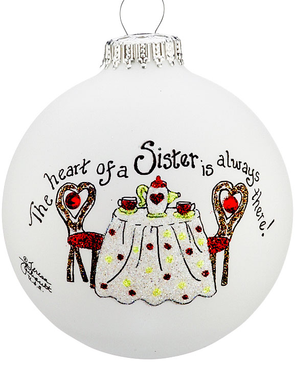 glass ball ornaments - sisters ornament