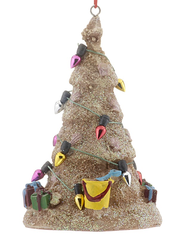 A sandcastle ornament to represent a tree made of sand for Christmas. | OrnamentShop.com