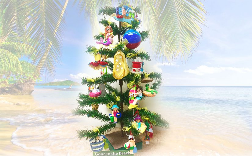 A beach-themed coastal decor Christmas tree with personalized ornaments from flip-flops to beach balls and surfers! | OrnamentShop.com