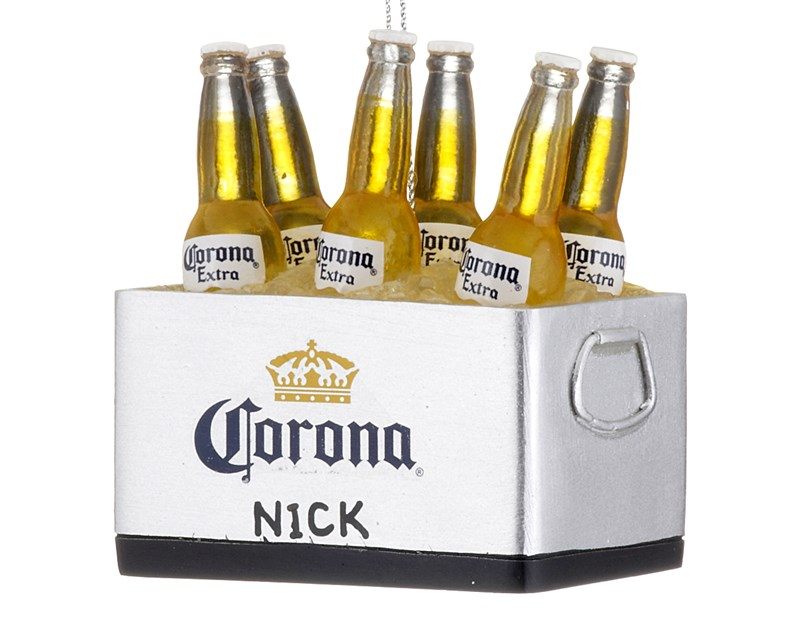 A silver 6-pack of glass Corona bottles made of resin as a personalized Christmas ornament | OrnamentShop.com