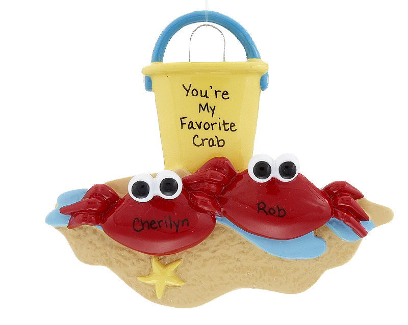 A crab couple holds claws at the beach on a personalized beach-themed Christmas ornament - perfect for a couple's first vacation together! | OrnamentShop.com