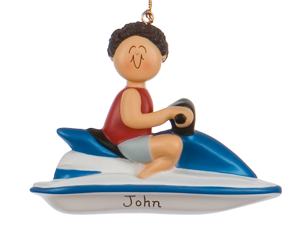 A brunette man on a jet ski ornament. Check our selections to personalize your own! | OrnamentShop.com