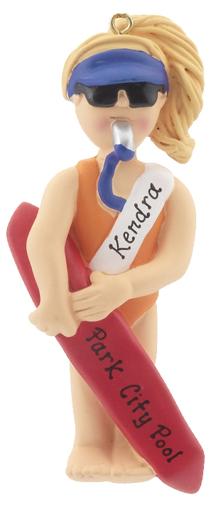 A female lifeguard with a whistle in her mouth, holding a long red life preserver. Personalize with the name of a friend! | OrnamentShop.com