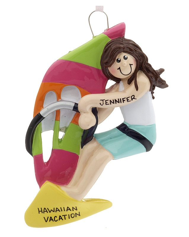 A windsurfing female with a pink and green sail leans into the wind on a personalized ornament. | OrnamentShop.com