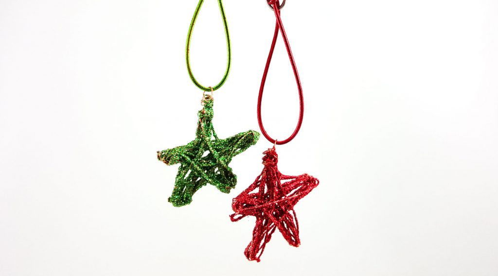 Christmas in July DIY star decorations with metal wire and glitter. | OrnamentShop.com