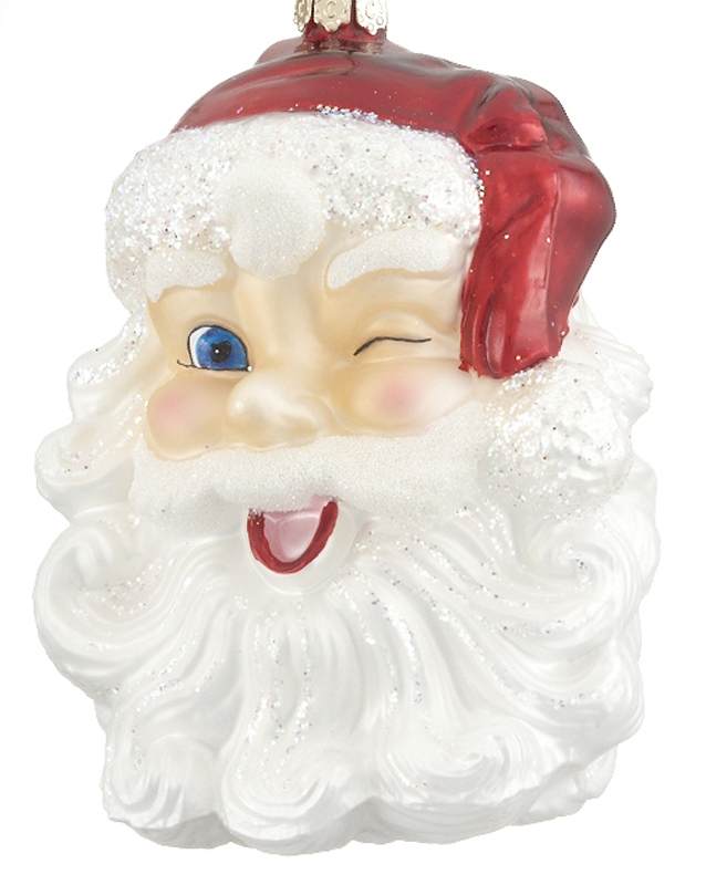 A winking Santa is perfect to celebrate Christmas in July. | OrnamentShop.com