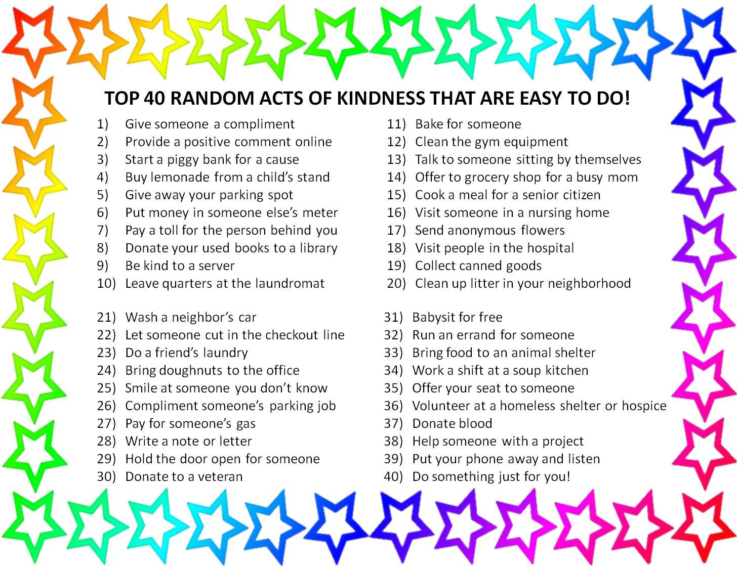 5 random acts of kindness The usual phrase has it wrong niceness can only be intentional.