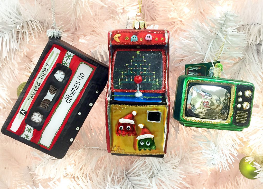 Throw Back Thursday Ornaments with cassette tape, Pac Man arcade, and retro television | OrnamentShop.com
