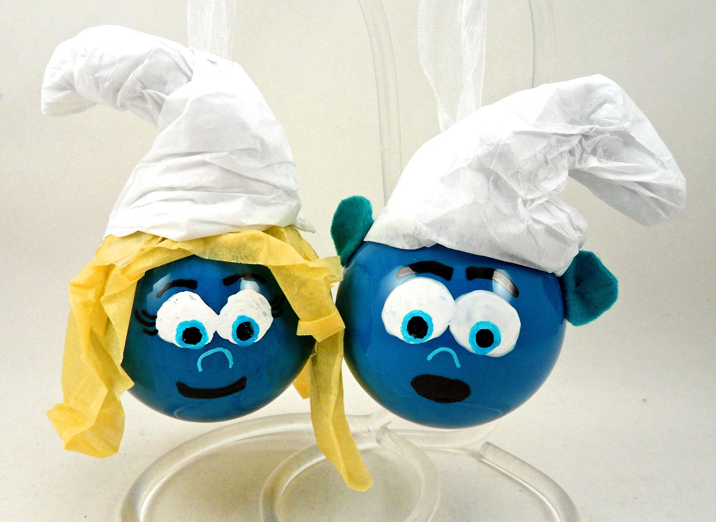 Smurfette and Hefty DIY Smurf ornaments | Ornament Shop