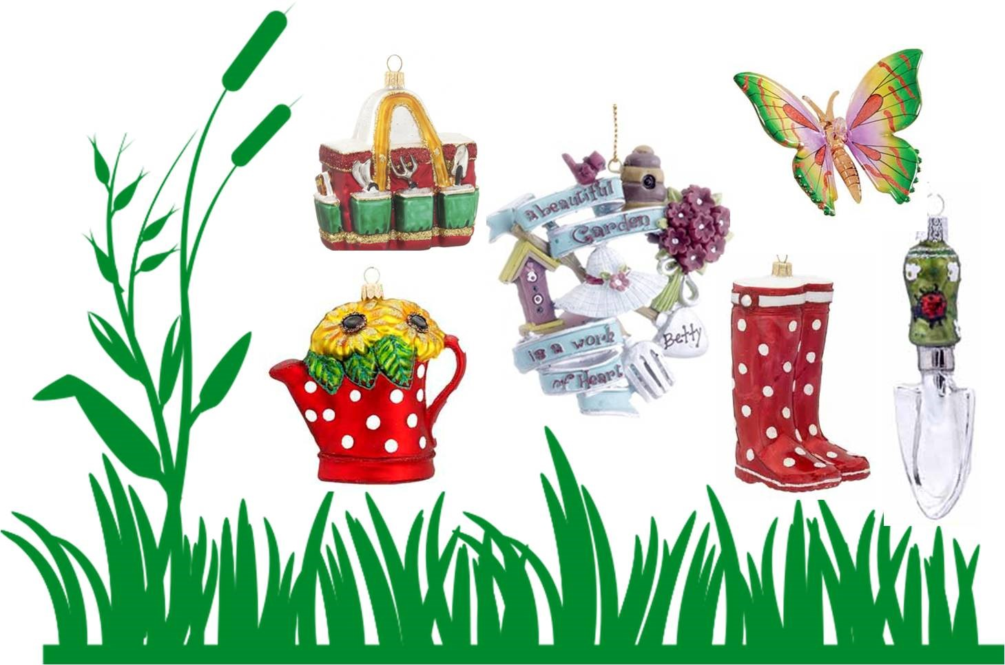 A collection of spring ornaments similar to the DIY cloche.