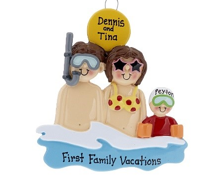 A vacation ornament with a mom, dad and child in the water, and a sun over head. Mom wears a yellow polkadot bikini top, dad wears a snorkle, and child wears swimmies. | OrnamentShop.com