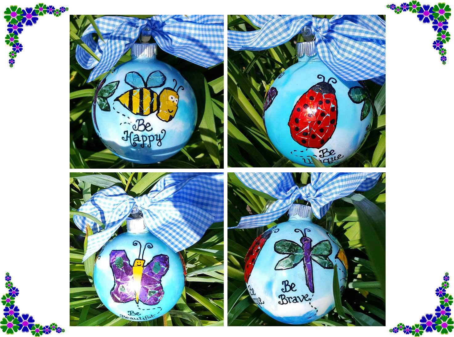 One DIY ornament displayed in 4 pictures to show each mosaic bug | OrnamentShop.com