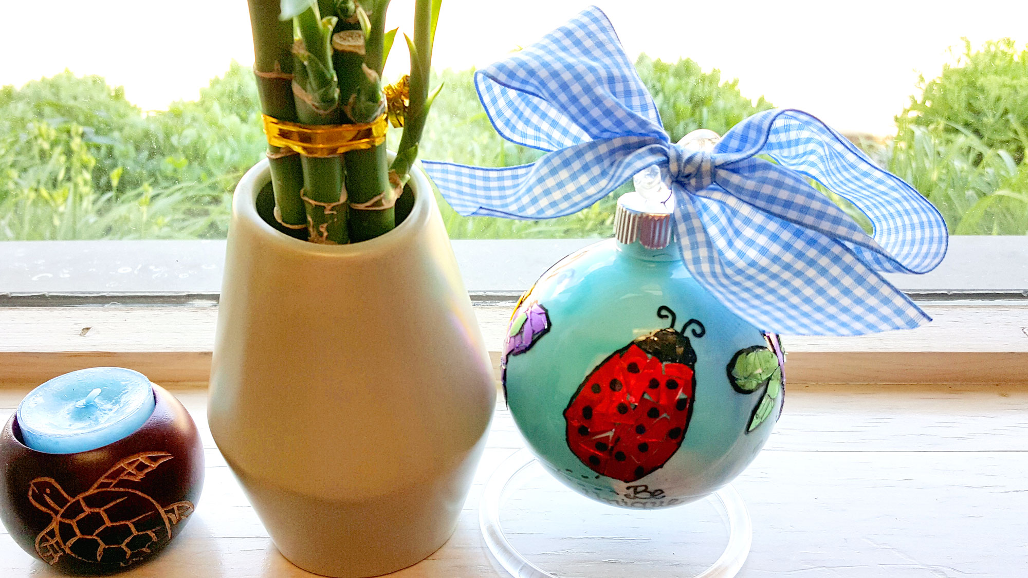 The final product sits on a window sill with a bright red ladybug facing the camera, next to a bamboo plant | OrnamentShop.com