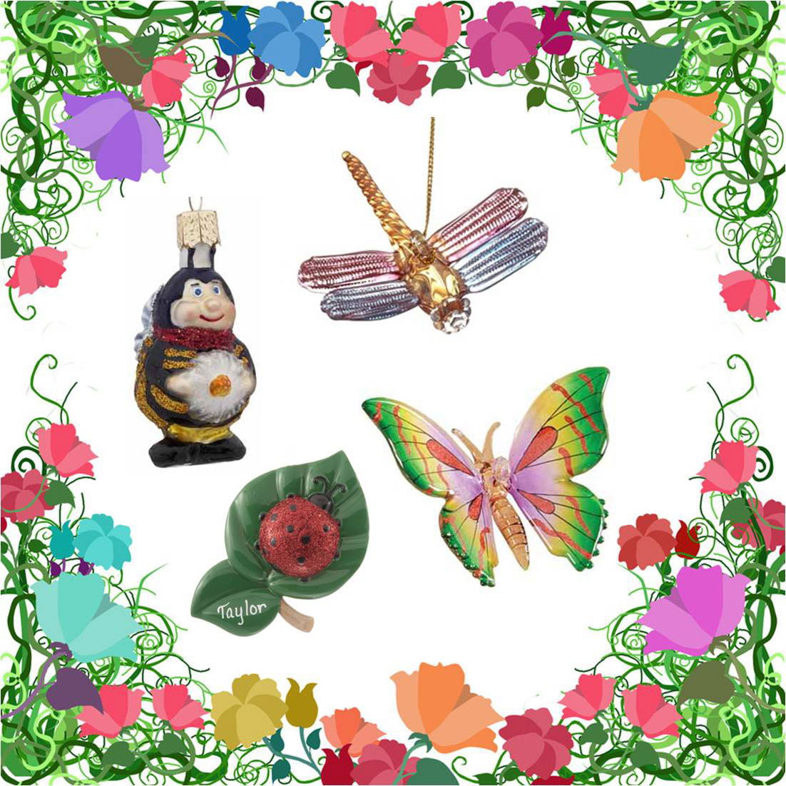 A dragonfly, butterfly, ladybug and bee ornament available to personalize and buy online | OrnamentShop.com