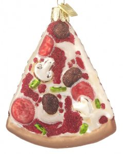 A pizza ornament with mushrooms, pepporoni, sausage and bell peppers. | OrnamentShop.com