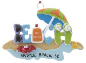 The word Beach spelled out with items you would find on the beach, including an umbrealla, sunglasses, and sun tan lotion | OrnamentShop