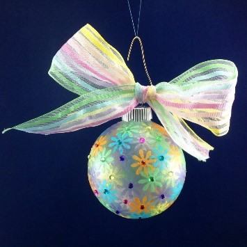 A colorful ball ornament made of glass and paper mache | OrnamentShop.com