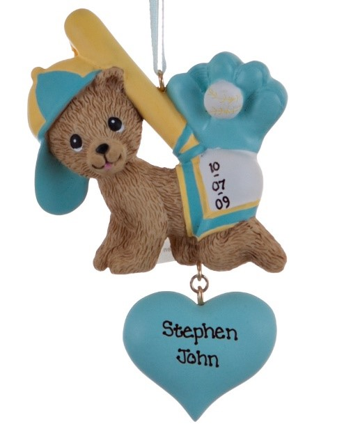A blue baby's first Christmas ornament with a bear cub and a baseball bat and glove to celebrate the Chicago Cubs 2017 baby boom following their 2016 victory. | OrnamentShop.com
