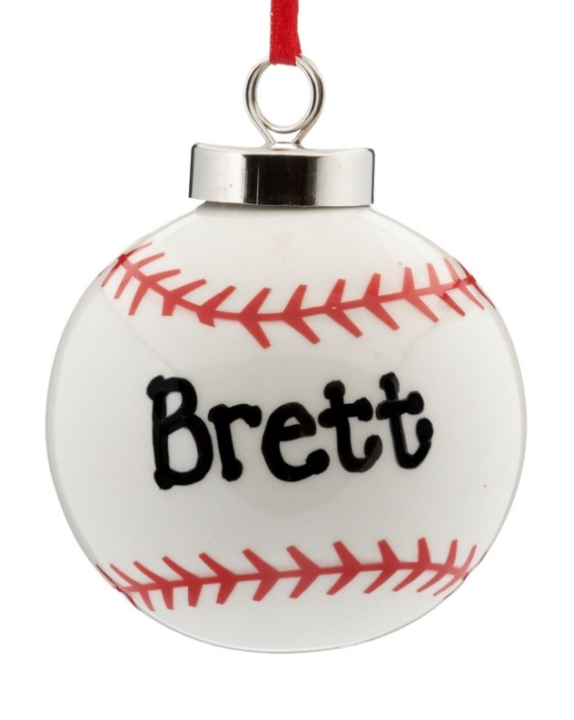 A ceramic baseball ornament to personalize with your baby's name in memory of the 2017 Chicago baby boom, following the 2016 World Series victory | OrnamentShop.com