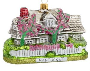 A country home ornament with pink flowers. | OrnamentShop.com