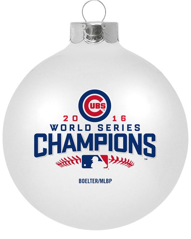 A 2016 World Series Cubs Champions glass ball ornament for personalizing your baby's name for the Chicago Cubs 2017 baby boom | OrnamentShop.com