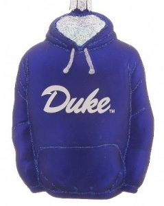 A Duke University ornament in the shape of a hoodie. | OrnamentShop.com