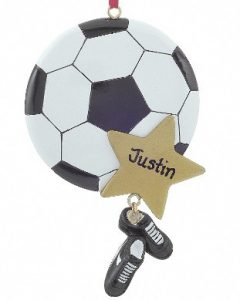 A soccer ball ornament with a gold star for the players name and a dangling pair of cleats. | OrnamentShop.com