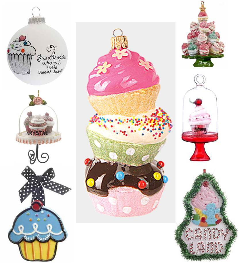 A colloge of all of our cupcake ornaments in case one isn't enough! | OrnamentShop.com