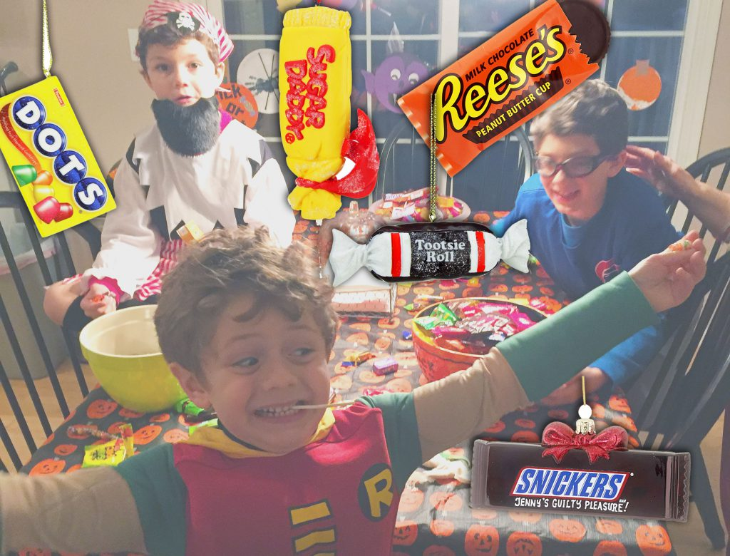 Three kids celebrate their bounty of the best Halloween candy. | OrnamentShop.com