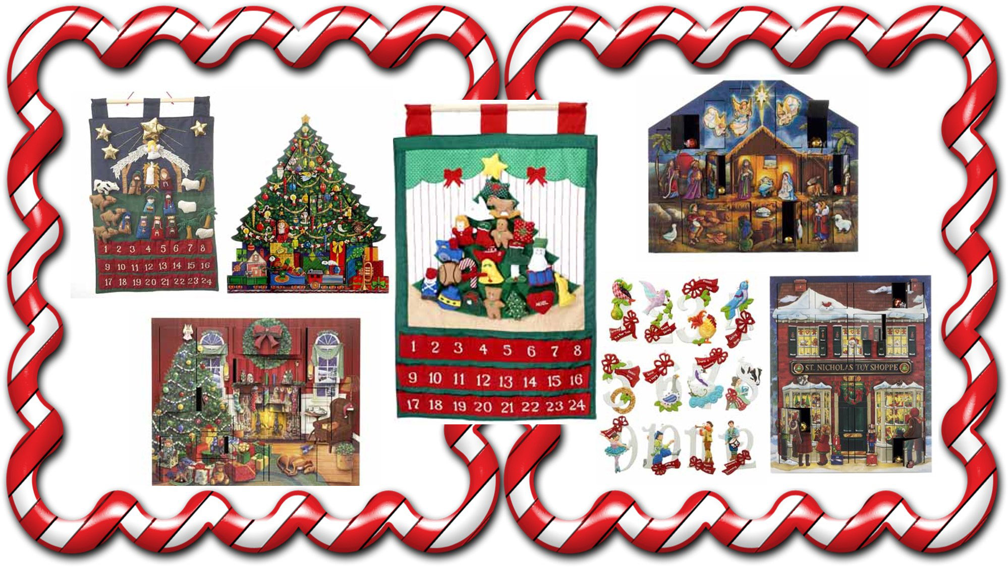 A collection of Advent decorations including ornaments, calendars, and table decorations. | OrnamentShop.com