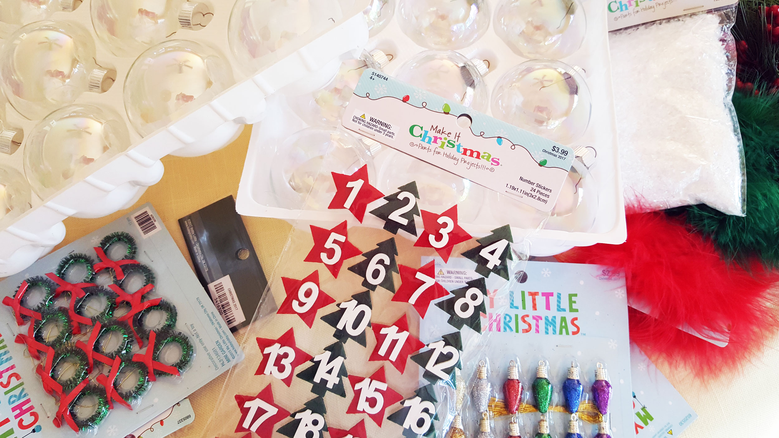 Advent Ornaments Supplies including glass balls, mini Christmas trees, artificial snow, numbered stickers and ribbon. | OrnamentShop.com