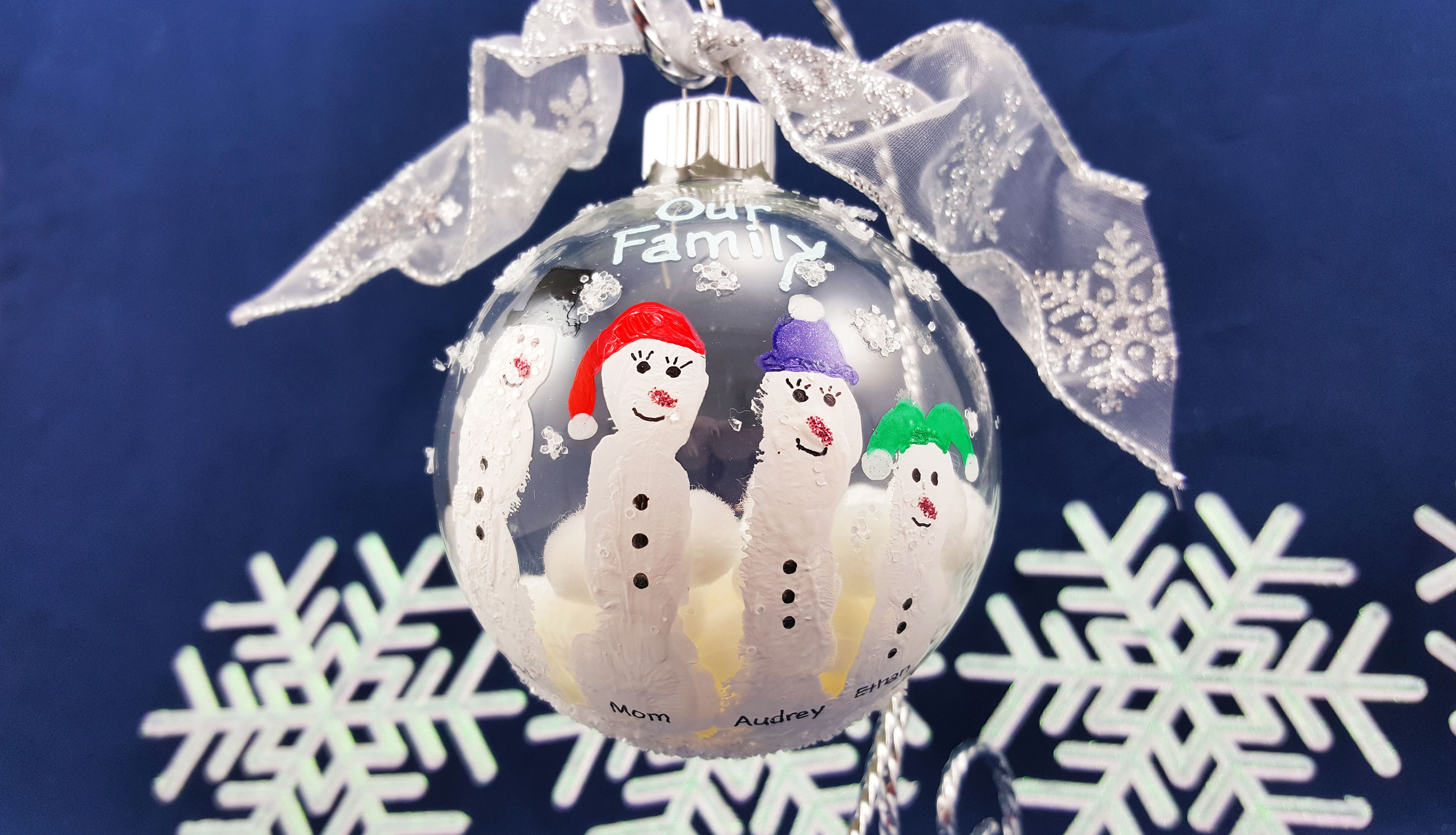 An adorable DIY snowman ornament for kids to make with finger painting, and has a snowman for each finger. | OrnamentShop.com