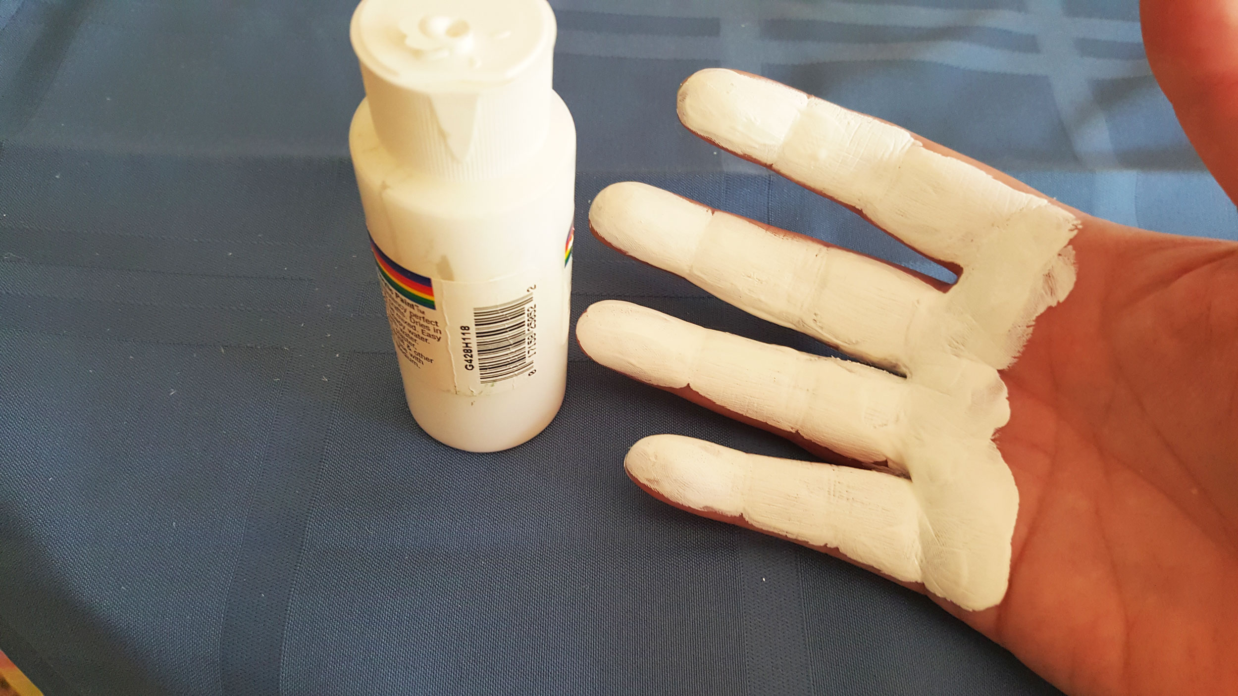 Step 2 is to coat the four fingers of your hand with white paint down to about half of your palm. | OrnamentShop.com