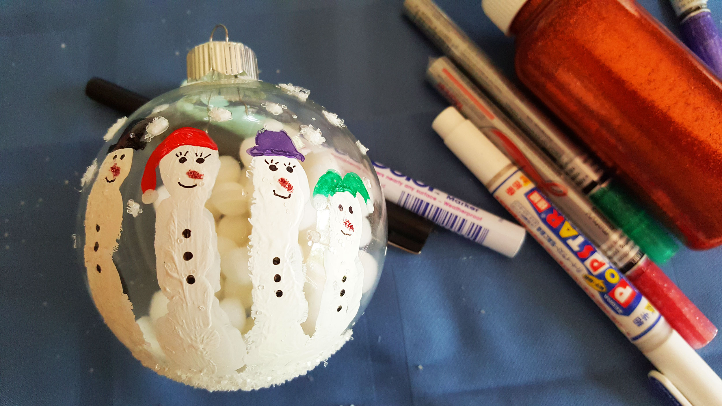 Step 7 is to personalize your snowmen by adding glue and shaking glitter, and by using colorful markers to add eyes, carrot noses and hats. | OrnamentShop.com