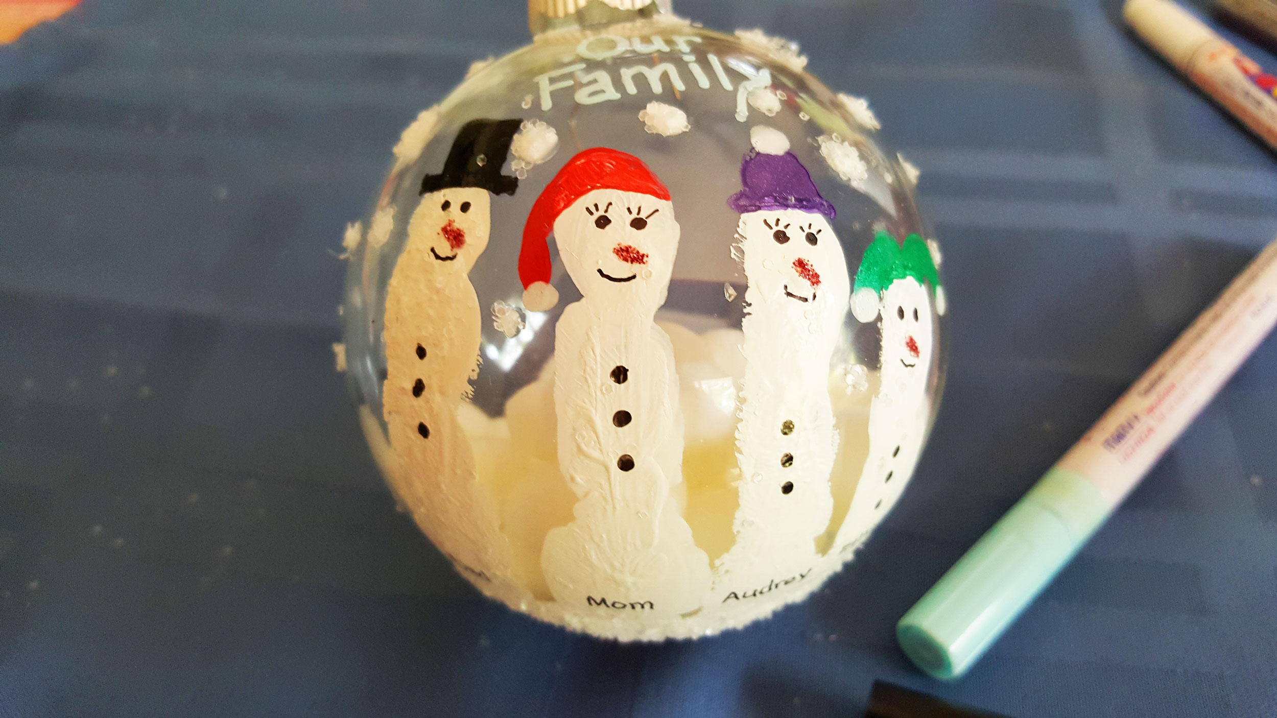 Step 8 is to use a permanent marker and name each snowman | OrnamentShop.com