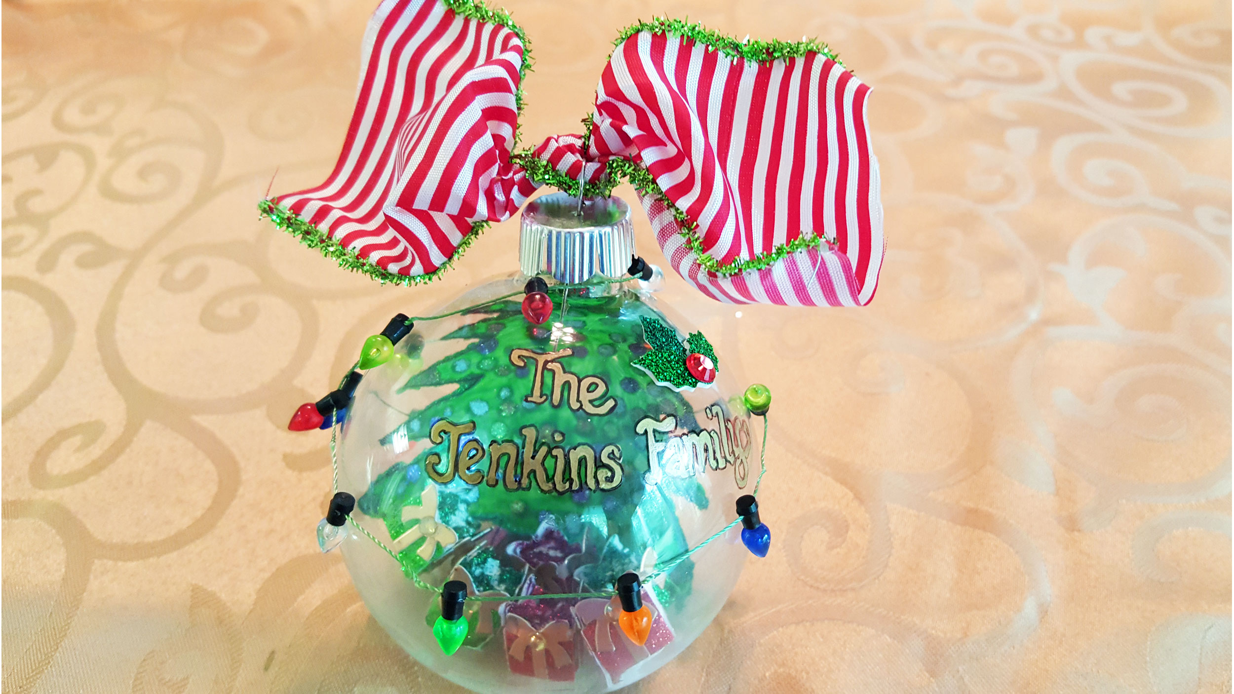 Tie a ribbon to the top of the ornament and it's complete! | OrnamentShop.com