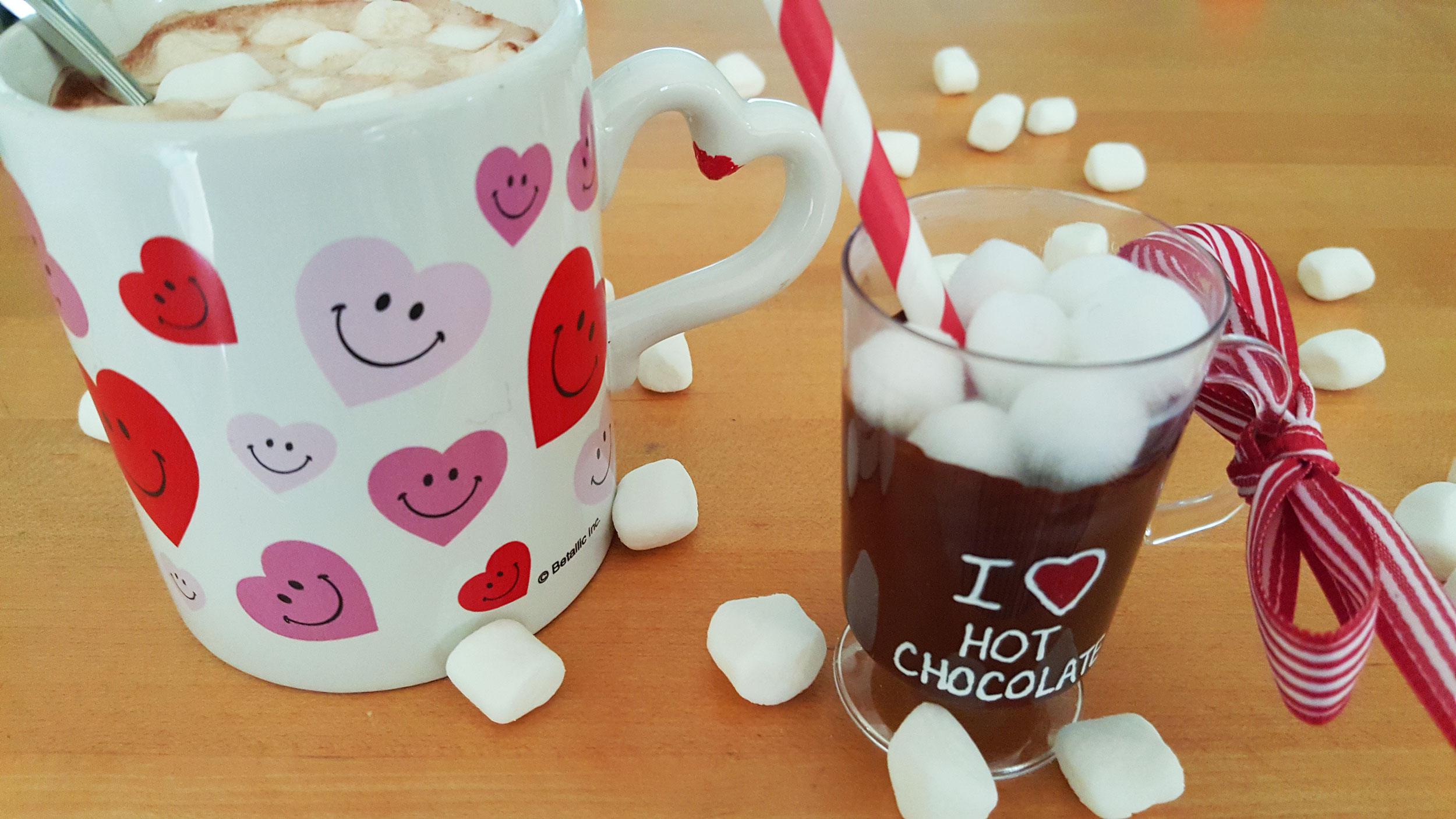 Cup of hot cocoa next to DIY Hot Chocolate Ornament | OrnamentShop.com