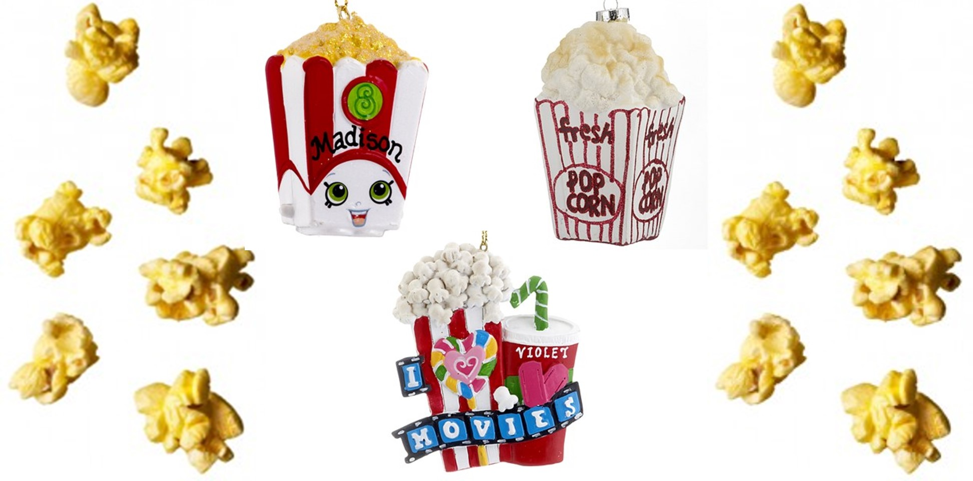 A collage of Popcorn Ornaments and Concession Stand symbols. | OrnamentShop.com